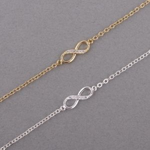 Silver Infinity Crystal Zircon Charm Bracelet